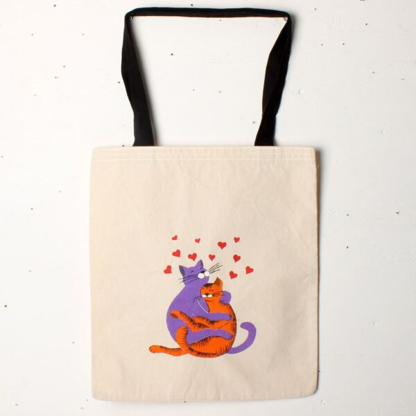 El Boyaması Bez Çanta – Aşık Kediler