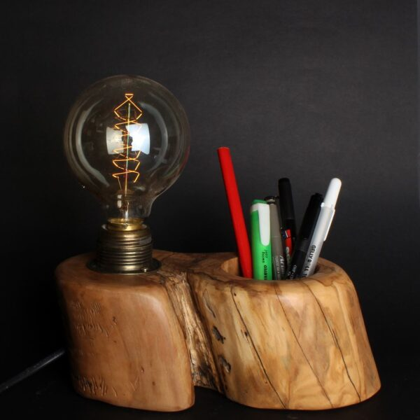 Ağaç Masa Lambası ve Kalemlik