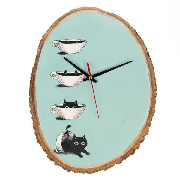 Ağaç Saat – Kedili Kahveli