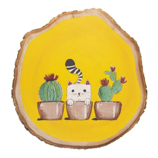 Duvar Panosu – Kedili Kaktüslü