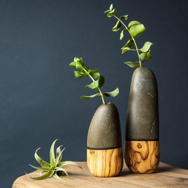 Doğal Taş & Ağaç Vazo Seti