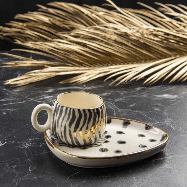 Seramik Fincan Takımı – 24 ayar altın işlemeli