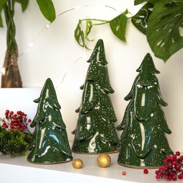 Dekoratif Seramik Çam Ağacı – 3'lü takım