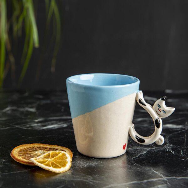 Seramik Kupa – Kedi Saplı