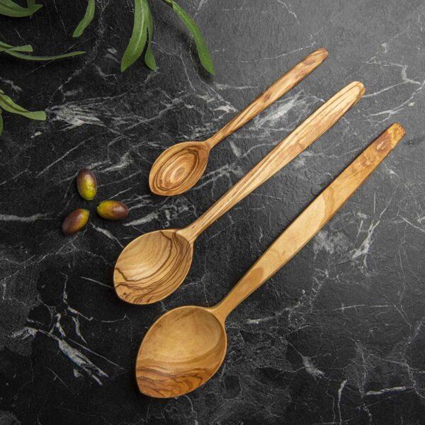 Ağaç Kaşık Takımı – Zeytin – 3 adet – Sabun Hediyeli
