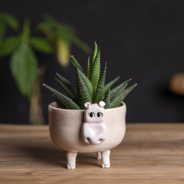 Seramik Saksı – Hipopotam