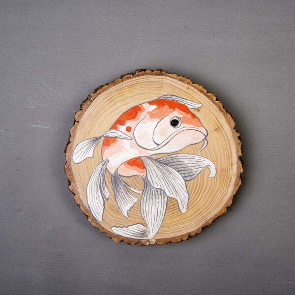 Ağaç Duvar Panosu – Koi Balığı