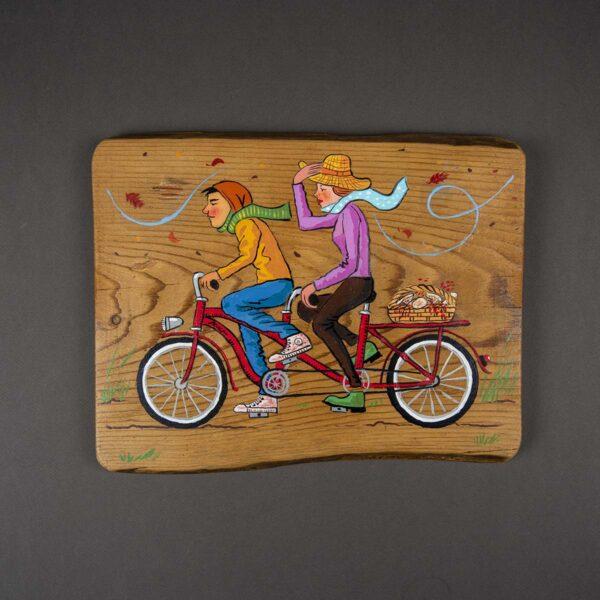 Ağaç Duvar Panosu – Bisikletliler